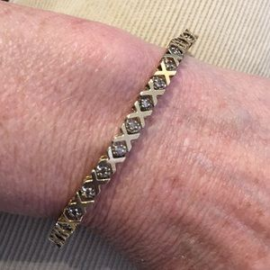 X-O - 10k- 2- Toned Diamond Tennis Bracelet